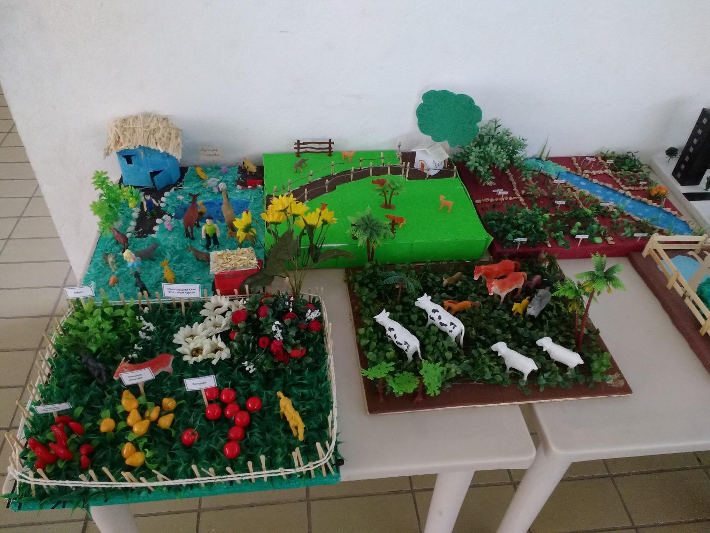 Maquetes, construídas com a participação das famílias dos alunos do 2° ano A e B.
